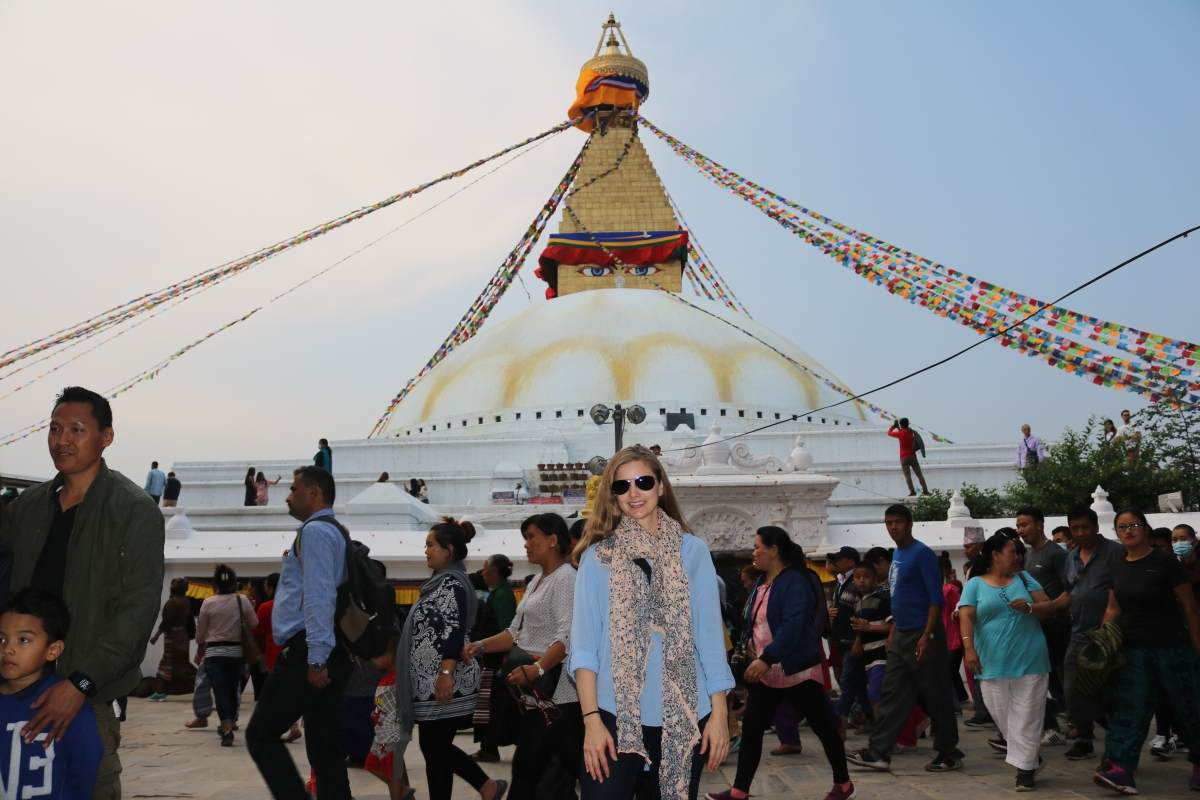 In front of Boudhanath Stupa