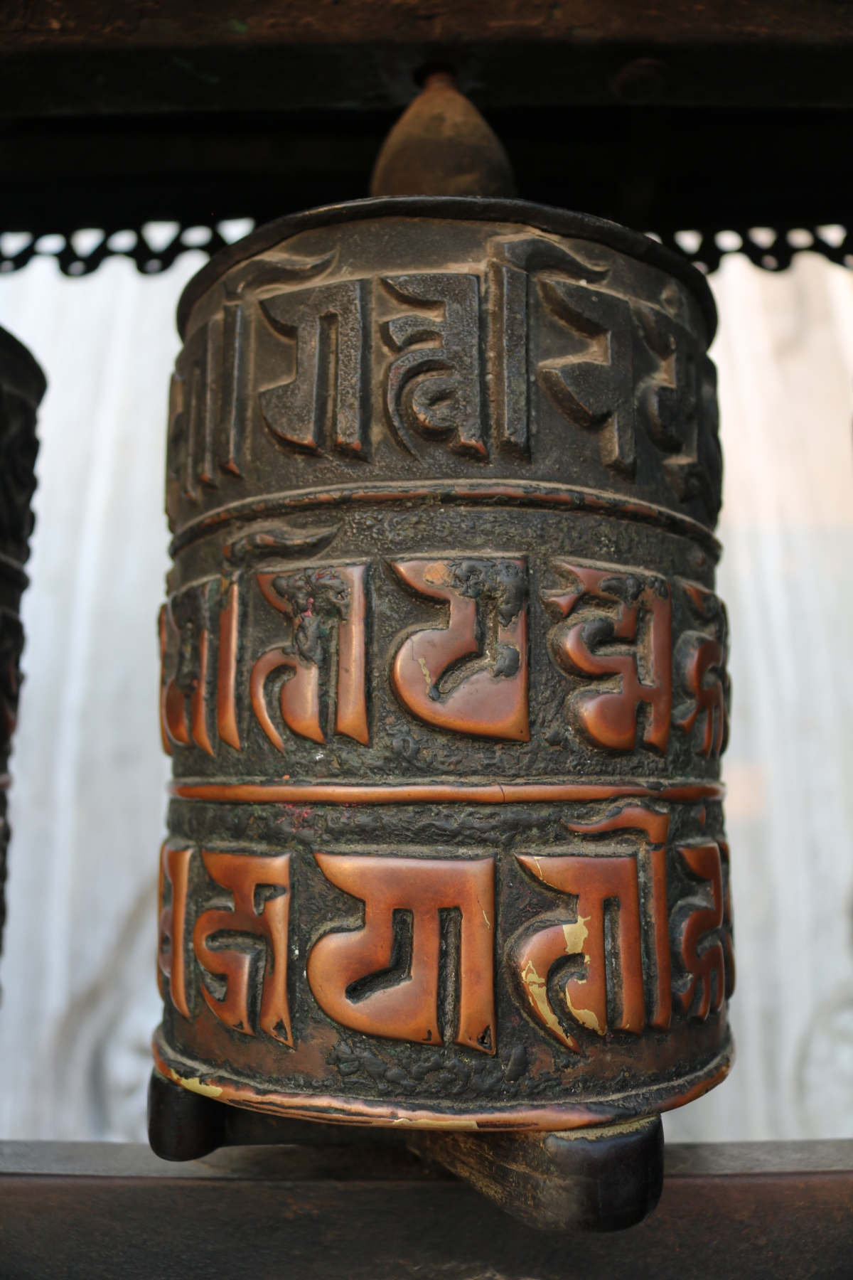 Prayer wheel at Swayambhunath Stupa